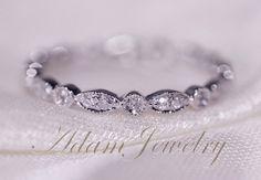 Art Deco complet éternité anneau de mariage de bande 14K or blanc Pave diamants bague de mariage / promettent Ring / bague de fiançailles / ...