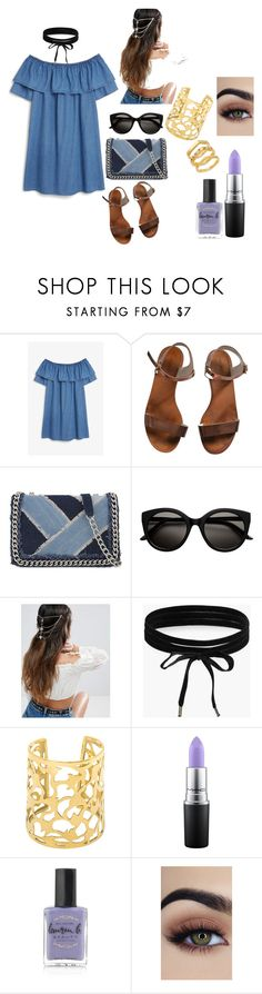 """festival outfit"" by barcalakaren on Polyvore featuring moda, Monki, Emporio Armani, ALDO, ASOS, Boohoo, MAC Cosmetics, Lauren B. Beauty y Elizabeth and James"