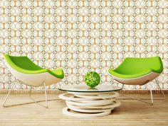 jaren 70 behang interieur groen