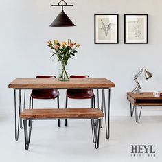 Package: Industrial Rustic Reclaimed Wood Table - Hairpin and 1 x Matching Bench Hairpin Dining Table, Reclaimed Dining Table, Industrial Dining, Wood Table, Table And Chairs, Dining Tables, Kitchen Tables, Industrial Style, Kitchen Decor