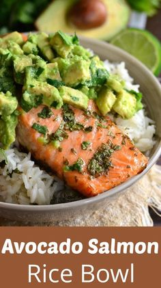Beautiful honey, lime, and cilantro flavors come toget… Avocado Salmon Rice Bowl. Beautiful honey, lime, and cilantro flavors come together is this tasty salmon rice bowl. Salmon Y Aguacate, Crock Pot Recipes, Chicken Recipes, Salmin Recipes, Whole30 Recipes, Steak Recipes, Pescatarian Recipes, Pasta Recipes No Meat, Pescatarian Diet