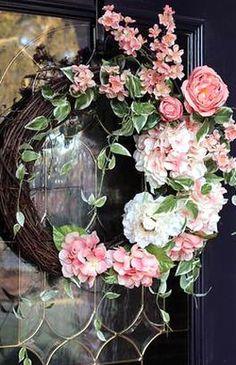 Double Door Wreaths, Spring Front Door Wreaths, Hydrangea Wreath, Floral Wreath, Lemon Wreath, Front Door Decor, Front Doors, Front Porch, Purple Door