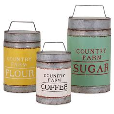 Decorative Farm Containers, Set of 3