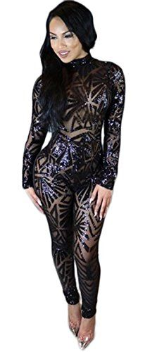 Kearia Women Sexy Sequin Jumpsuits Back Hole Nude Illusion Slim Leg Pants Jumpsuits Rompers Black Medium  Special Offer: $24.89  311 Reviews Basic Information:Kearia dress is made of comfortable fabric with the competive price. Top fashion and unique design makes you charming and...