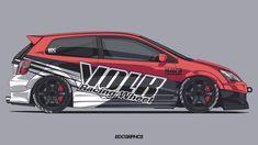 Honda Civic Type-R by edcgraphic on DeviantArt Honda Civic Hatchback, Honda Civic Type R, Car Animation, Racing Car Design, Car Tuning, Car Wrap, Jdm Cars, Car Decals, Custom Cars