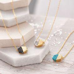 Hexagonal Marble Stone Necklace - necklaces & pendants