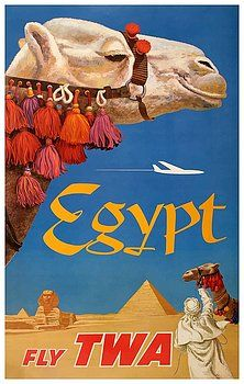 Vintage 1950s Travel Poster Egypt Camel Pyramids Sphinx Constellation TWA Retro