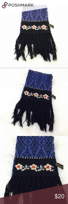 Wool Floral Embroidered Scarf! One size! Accessories Scarves & Wraps