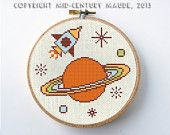 Outer Space Cross Stitch Pattern Instant Download PDF Digital Needlepoint rocket ship saturn
