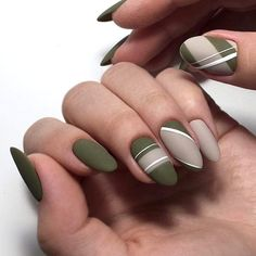 35 Fall Nail Art Designs You'll Love 35 Fall Nail Art Designs Youll. 35 Fall Nail Art Designs You'll Love 35 Fall Nail Art Designs Youll Love Green Nail Art, Green Nail Polish, White Nail Art, White Nails, White Art, Matte Green Nails, White Beige, Black Nail, Green Art