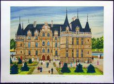 """By Dan Gandre. Dan Gandre was born at Belleville (France) in """"Le Chateau de d Azay-le Rideau"""". Postcards, Dan, Louvre, Signs, Building, Travel, Viajes, Shop Signs, Buildings"""