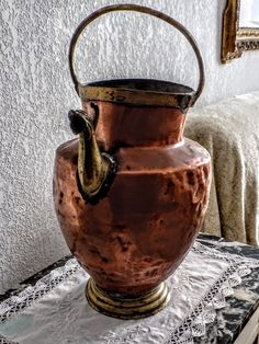 Very Old Decorative Copper & Brass Jug, Old French Copper and Brass Jug for Flowers or Decorative Piece. Kitchenalia, Farmhouse, Primitive. by FabFrench on Etsy