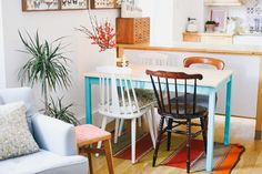"This London Flat Proves The Beauty Of Decorating With Mismatched Items  #refinery29  http://www.refinery29.com/a-beautiful-mess/20#slide-9  The table is from Ikea, but Greenwood spruced it up — with some turquoise paint and a couple coats of clear varnish.Related: How To ""Palm Springs"" Your Home..."