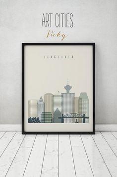 Vancouver print Poster Wall art Vancouver by ArtPrintsVicky