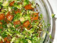 Raw Brussels Sprouts Good Fortune Salad...I love to combine cooked foods with raw foods for maximum nutrition. If you've never tried raw brussels sprouts...
