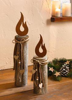 Holz-Säule Kerze 2 er Set Deko-Säule Weihnachtsdeko Holz Rostdeko rustikal Herz in Möbel & Wohnen, Dekoration, Sonstige | eBay!