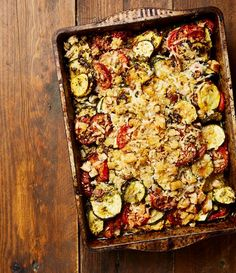 Yotam Ottolenghi's courgette, tomato and pesto gratin.