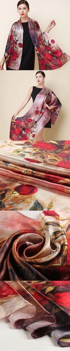 2016 spring high quality 100% real silk Scarf Shawl wrap hijab women female fashion Scarves classic red rose pattern 175*52cm $47.6