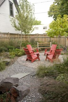 www.castlehometour.com Installed in 2011, this multi-unit condominium courtyard attracts birds, bees and residents to take a break and congregate. Before our project this was just a bare patch of bad lawn. The project includes a permeable patio, gravel areas, raised Cor-ten steel planters and robust plantings.