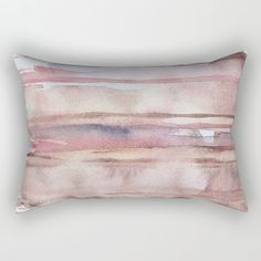 Throw Pillow Cover with a print of my original watercolor design on both sides. Based on my painting Elusive Strata Shades of pink, coral, violet, carmin red and beige in delicate transparent layers.  Made from 100% spun polyester poplin fabric, individually cut and sewn by hand. Finished with a concealed zipper for ease of care. Does not include pillow insert.