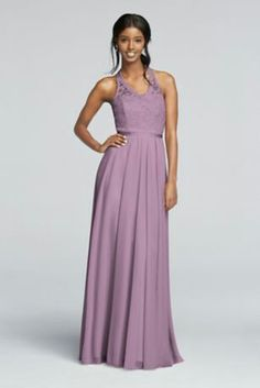 http://www.davidsbridal.com/Product_long-mesh-dress-with-lace-halter-bodice-f19025