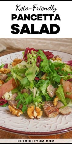 Smoked pancetta with tender walnuts, crispy chestnuts and fresh mixed greens. All drizzled with rich olive oil and lemon juice — the perfect keto salad.
