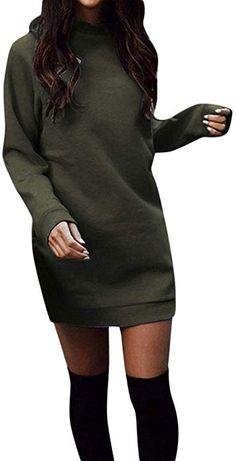 170a3fa7f20ca1 KIMODO Damen Kleid Lang Herbst Winter Warm Rundhals Langarm Sweatshirt  Partykleid Abendkleid Kleider (GrüN,