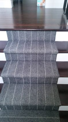 Great looking wool carpet with the look of a men's tweed suit. Made of wool. Available at Hemphill's Rugs & Carpets RugsAndCarpets.com Staircase Wall Decor, Staircase Design, Basement Carpet, Carpet Stairs, Stairway Photos, Oak Stairs, Rugs On Carpet, Wool Carpet, Mediterranean Homes