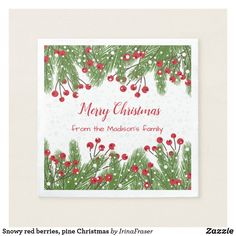 Snowy red berries pine Christmas Paper Napkin - merry christmas diy xmas present gift idea family holidays Red Christmas, Christmas Themes, Vintage Christmas, Holiday Cards, Christmas Cards, Christmas Paper Napkins, Kiefer, Wedding Napkins, Red Berries