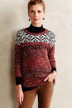 Anthropologie Ananassa Pullover Size M, Textured Fringed Sweater By Sanctuary #Sanctuary #ScoopNeck