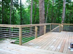 32 DIY Deck Railing Ideas & Designs That Are Sure to Inspire You Deck railings Pipe Railing, Deck Railing Design, Deck Railings, Patio Design, Deck Railing Ideas Diy, Horizontal Deck Railing, Stair Railing, Fence Ideas, Patio Stairs