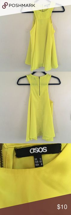 Yellow zippered Tank Asia yellow zippered detailed tank top. Tags removed but never worn. ASOS Tops Tank Tops