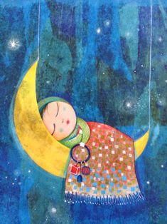Sleeping on moon on We Heart It.