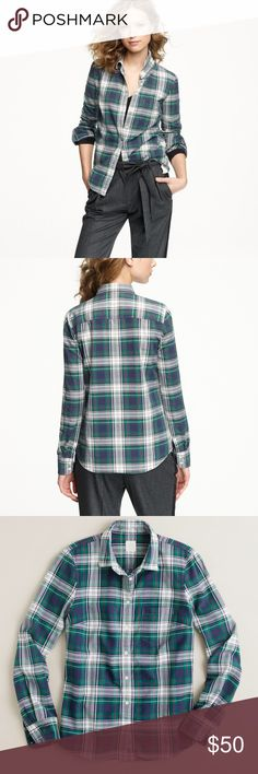 """J. Crew • The Boy Shirt in Carrick Tartan Gently loved! In perfect condition. Classic plaid """"The Boy Shirt"""" from J Crew in a sold out print. Will upload more pics later this week!  •100% Cotton  ❌No Trades ❌No off Posh transactions ❌No asking for the lowest price J. Crew Tops Button Down Shirts"""