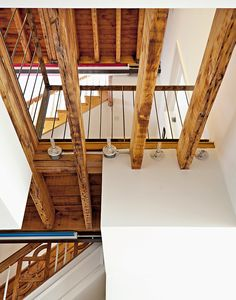 Exposed wooden beams in a Harlem townhouse. Photo: Trevor Tondro for The New York Times