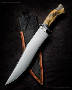 "Kyle Gahagan ~ Bowie Triptych. Blade length: 13"". 5160 steel. Checkered buckeye burl handle. Amazing blade."