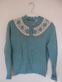 Vintage Dean's of Scotland Preppy Wool Sweater Fair isle 38 (8) M ...
