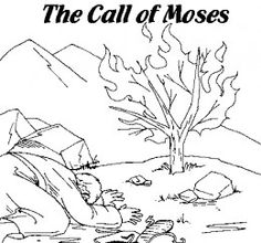 Kids Coloring Page From Whats In The Bible Featuring Moses And The Burning Bush From Exodus 3