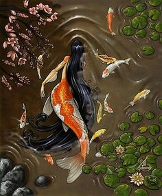 This is Koi. She is 18 and can become a koi fish( her namesake) she was imported from Asia to a pond in Japan. She is very shy. She loves all the koi fish in the pond Mermaid Illustration, Carpe Koi, Mermaid Photos, Mermaid Images, Art Asiatique, Mermaids And Mermen, Merfolk, Mythological Creatures, Mermaid Art