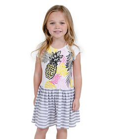 Look at this #zulilyfind! White Pineapple Parfait Isabella Dress - Toddler & Girls by Jelly the Pug #zulilyfinds
