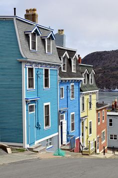 Newfoundland The trademark colourful homes of St. John's, Newfoundland, Canada, photograph by Fernando Barozza. Pvt Canada, Canada Eh, Newfoundland Canada, Newfoundland And Labrador, Saint John, Oh The Places You'll Go, Places To Travel, Travel Pics, Disney Magic