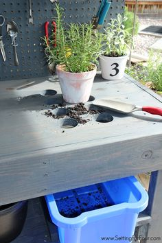 If you love to garden you'll want to make this!! DIY Pallet Wood Potting bench with tons of amazing features - like holes at one end for collecting potting soil and a container to catch and contain it! Easy cleanup! www.settingforfour.com