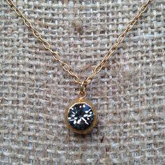 "La Vie Parisienne by Catherine Popesco necklace with black diamond stone pendant.  16-18"" long"