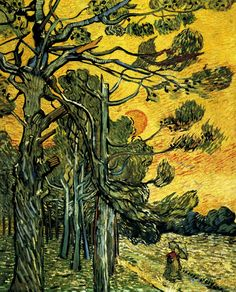 Pine Trees against a Red Sky with Setting Sun - Vincent van Gogh - Painted in November 1889 while in the Saint-Rémy Asylum - Current location: Rijksmuseum Kröller-Müller, Otterlo, Netherlands..