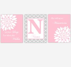 Pink Baby Girl Nursery Art Mums Dahlia Personalized Flower Floral Prints Let Her Sleep SET OF UNFRAMED PRINTS
