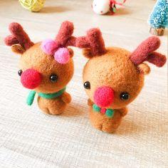 Handmade Needle felted reindeer Rudolph felting kit project Christmas | Feltify