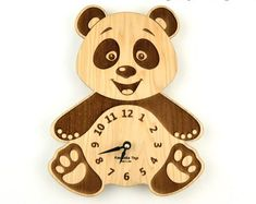 Wooden Clock Nursery, Panda Bear Wall Clock, Wood Clock for a Baby, Gift for… Cnc Projects, Projects To Try, Cnc Laser, Laser Art, Routeur Cnc, Cnc Router, Wood Crafts, Diy And Crafts, Machine Cnc