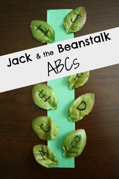 Jack and the Beanstalk Reading Activities: ABCs, Phonemic Awareness-Syllables, Story Retelling Ask them to put alphabet leaves in order up the beanstalk Nursery Rhymes Preschool, Preschool Literacy, Preschool Letters, Learning Letters, Alphabet Activities, Reading Activities, Literacy Activities, Fun Learning, Preschool Activities