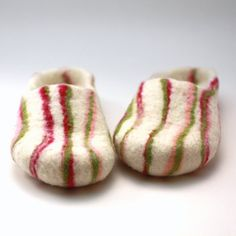 Women house shoes  felted wool slippers white with by AgnesFelt, $65.00