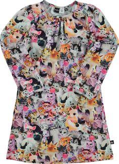 Ceria - Porcelain Cats - molo long sleeve dress with print - molo